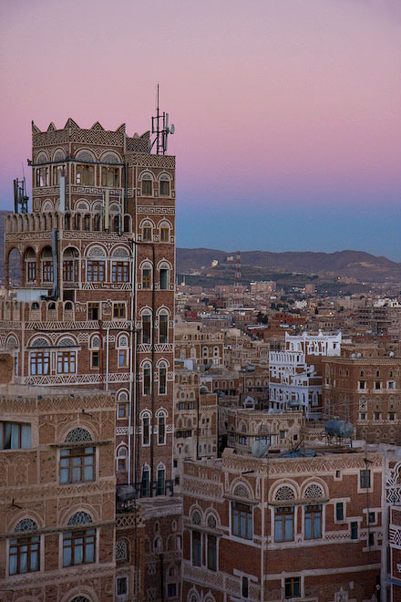 Before sunrise in old Sana'a, Yemen