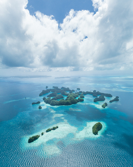 Aerial view of paradise, Palau Islands, Micronesia