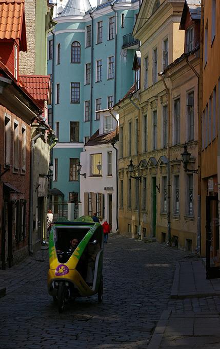 Velotaxi on the streets of old Tallinn, Estonia
