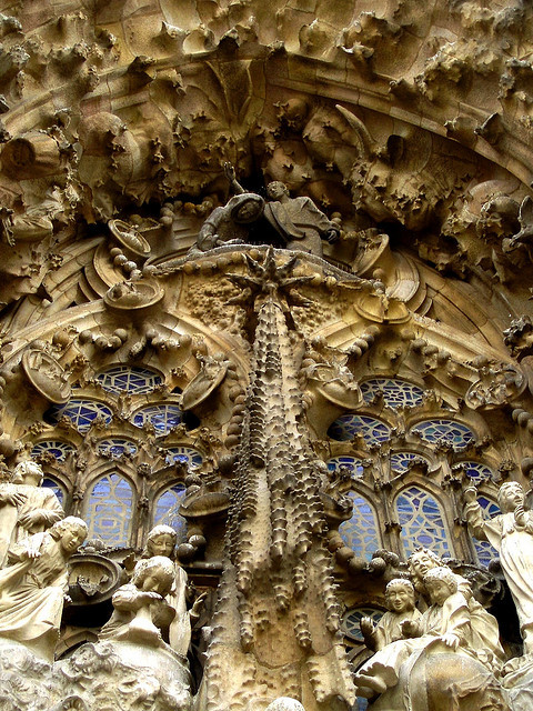 Magnificent details of Sagrada Familia in Barcelona, Spain