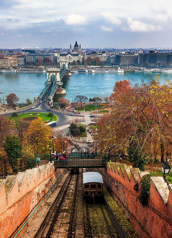 View from the castle hill funicular in Budapest, Hungary