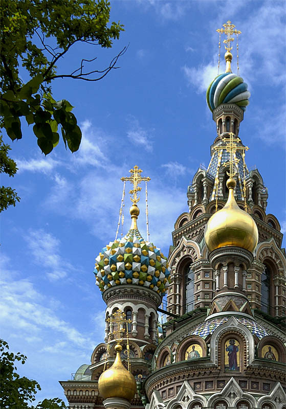 Beautiful domes of Church on Spilled Blood in St. Petersburg, Russia