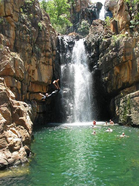 Having fun at Southern Rockhole in Nitmiluk National Park, Australia