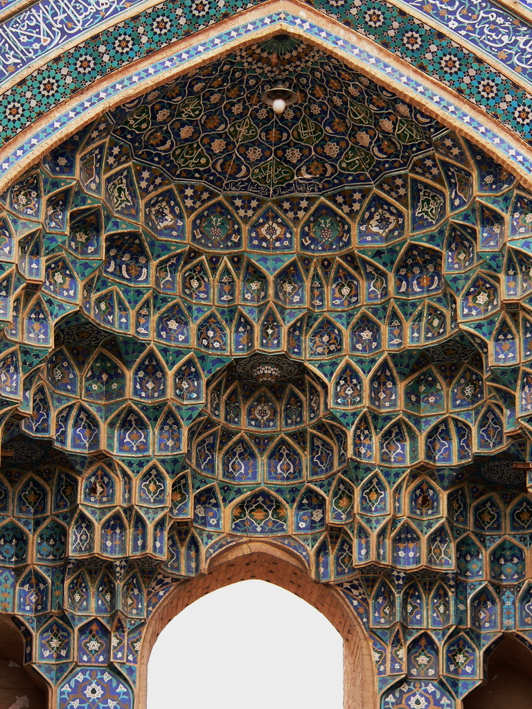 Azari style of persian architecture at Jameh Mosque in Yazd, Iran
