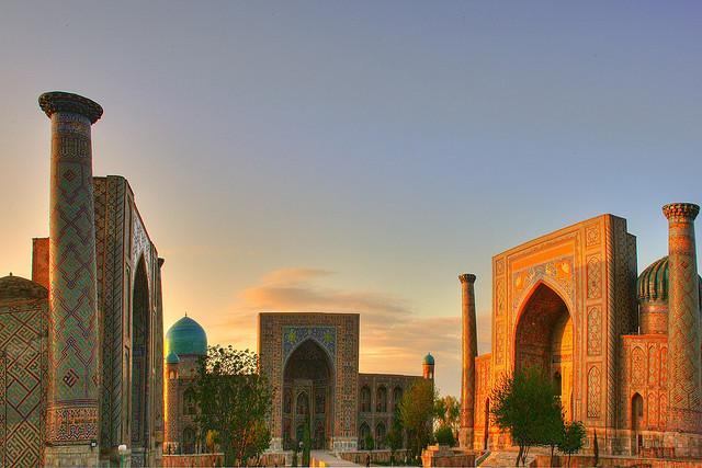 Sunset in Registan Square, Samarkand, Uzbekistan