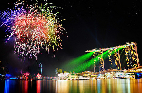 National Day Celebration Fireworks at Marina Bay Sands, Singapore