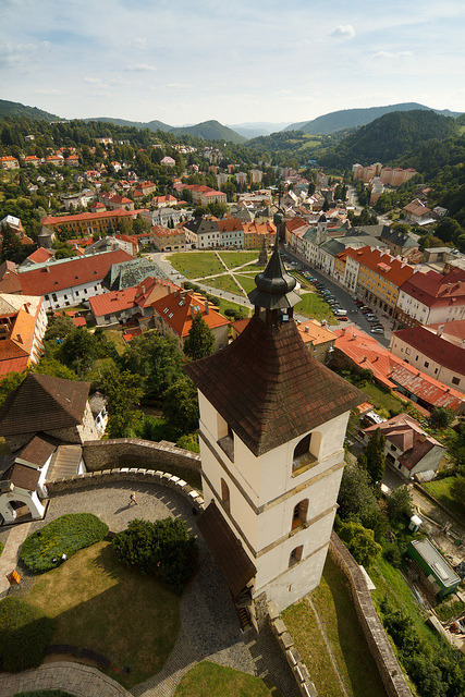 The town of Kremnica seen from the castle in central Slovakia