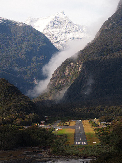 Milford Sound Airport in Fiordland National Park / New Zealand
