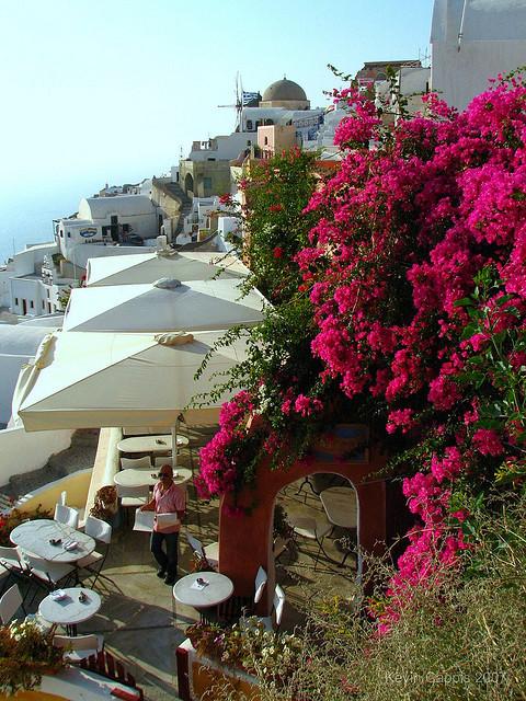 Nice view in the village of Oia, Santorini Island / Greece