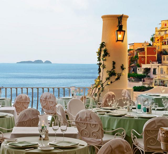 On the terrace of La Sponda Restaurant in Positano / Italy