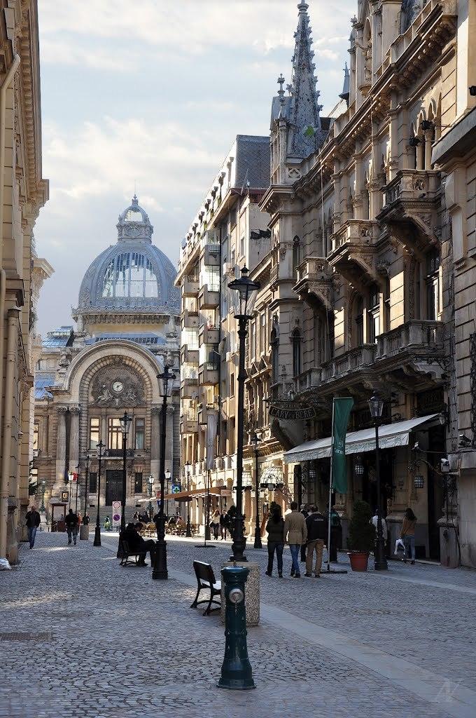 Stavropoleos street in Bucharest / Romania
