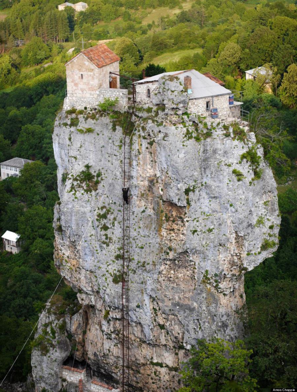 """Climbing the ladder to Katskhi Pillar Monastery / Georgia ."""